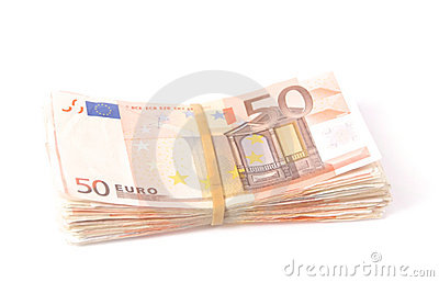 Stack of fifty euro notes with rubber band