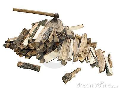 Stack of firewood with an axe
