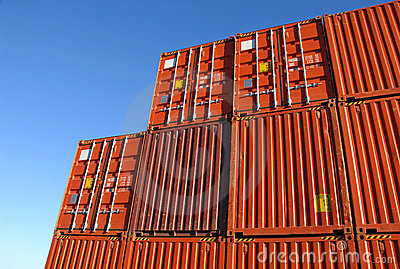 Stack of freight containers