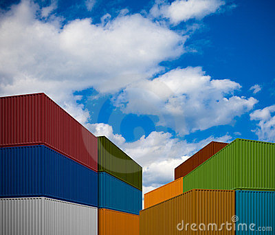 Stack of freight transportation containers