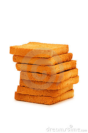 Stack of fresh toasts isolated