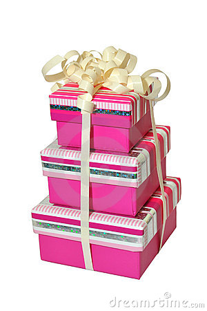 Stack of gift boxes isolated on white