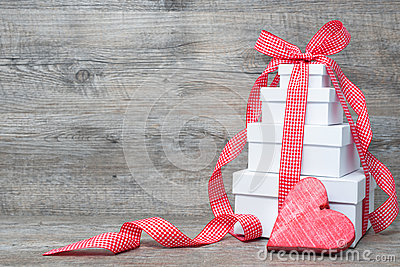 Stack of gift boxes with ribbon and bow