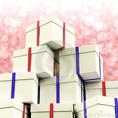 Stack Of Giftboxes With Bokeh Background
