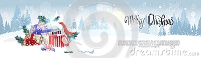 Stack Of Gifts Over Winter Forest Landscape Merry Christmas Background Holiday Greeting Card Design Horizontal Banner Vector Illustration