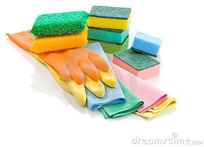 Stack of glowes rags and sponges