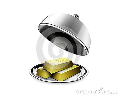 Stack of gold bars on platter
