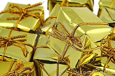 Stack of golden gifts