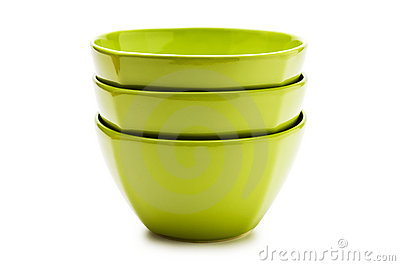 Stack green ceramic bowl