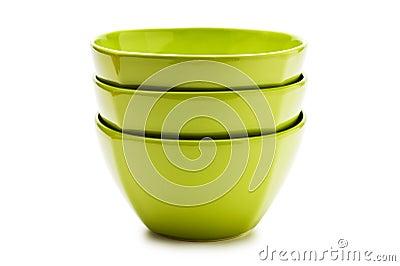 Stack green ceramic bowl