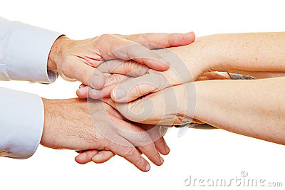 Stack of hands of senior people