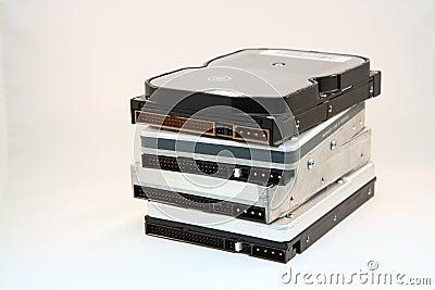 Stack of hard disks