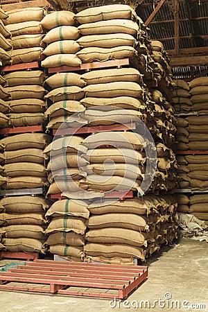 Free Stack Hemp Sacks Of Rice Stock Images - 38967844