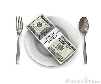 Stack of hundred dollar bills on a plate