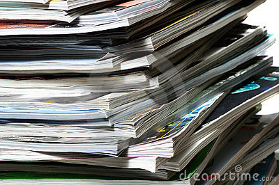 Stack of magazines .