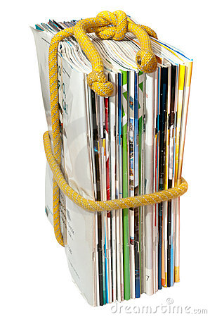 The stack of magazines on the rope