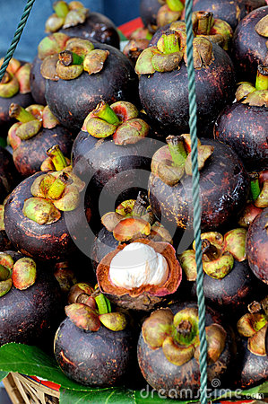 Stack of mangosteen fruit