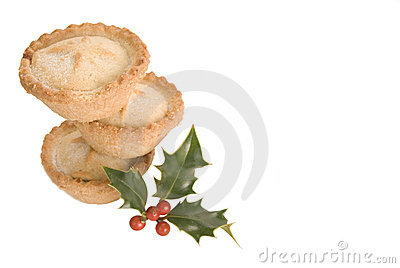Stack of mince pies with holly