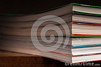 A stack of multicolored books