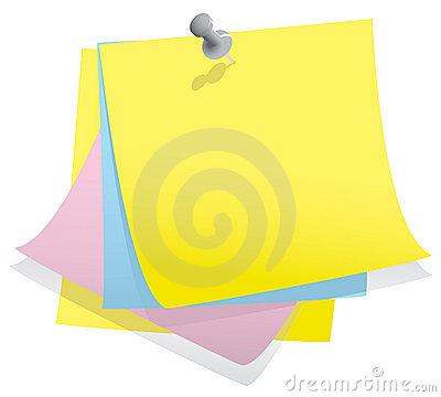 Stack of note paper with pin
