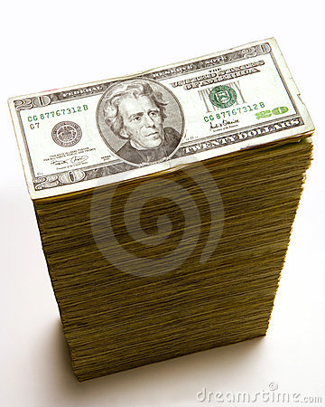 Free Stack Of 20 Dollar Bills Stock Photography - 2562612