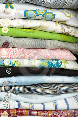Free Stack Of Colored Shirt, Details Of Buttons Royalty Free Stock Photography - 14395597