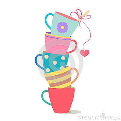 Free Stack Of Colorful Coffee Cups Royalty Free Stock Image - 50249846