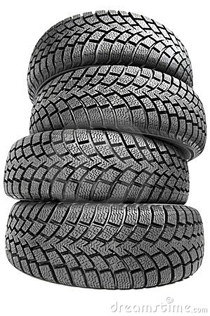 Free Stack Of Four Car Wheel Winter Tires Isolated Stock Photo - 23518630