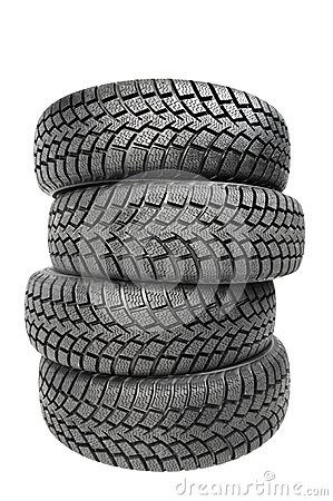 Free Stack Of Four Car Wheel Winter Tires Isolated Stock Images - 33040454