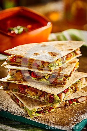 Free Stack Of Four Quesadillas Close Up Royalty Free Stock Images - 69366869