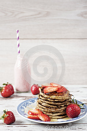 Free Stack Of Healthy Low Carbs Oat And Banana Pancakes Over White Wooden Background Royalty Free Stock Image - 68141206