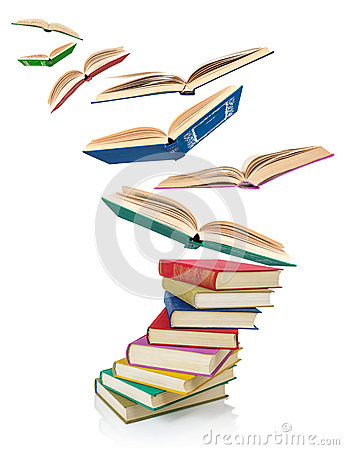 Free Stack Of Old Books And Flying Books Stock Image - 55497971