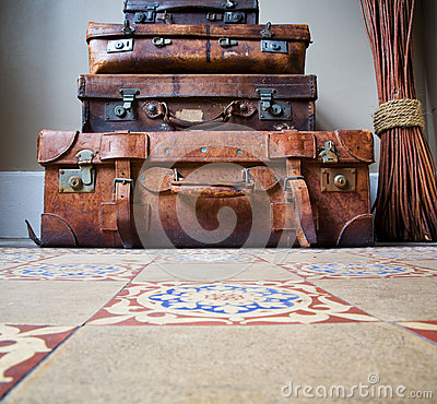 Free Stack Of Old Leather Luggage On Tiled Floor Stock Image - 29160951