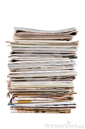 Free Stack Of Old Newspapers And Magazines, Vertical, Isolated On White Background Stock Photography - 51017792