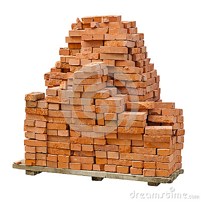 Free Stack Of Red Clay Bricks On White Background Stock Photos - 25129083