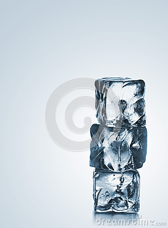 Free Stack Of Three Blue Ice Cubes With Copyspace Royalty Free Stock Images - 57187389