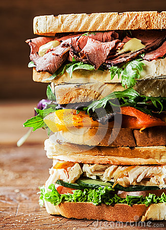 Free Stack Of Three Delicious Toasted Sandwiches Stock Photography - 39391532