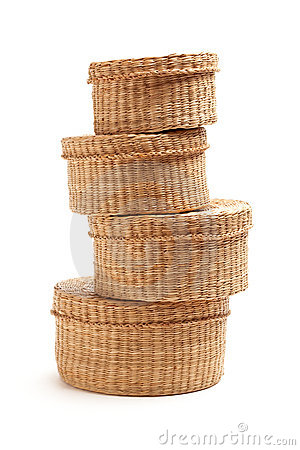 Free Stack Of Wicker Baskets On White Stock Image - 12926511