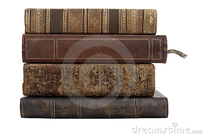 A stack of old antique books