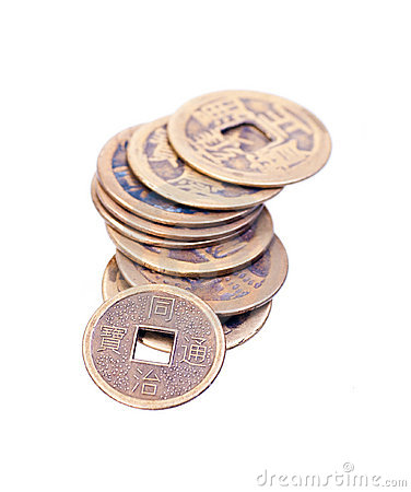 A stack of old chinese coins