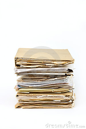 Stack of old paper files