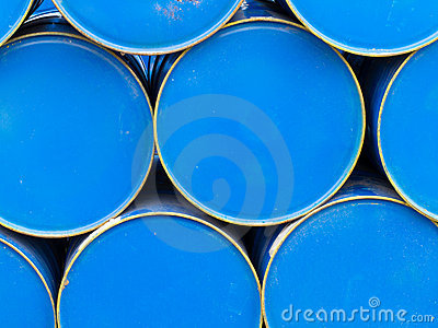 Stack of painted blue oil barrels