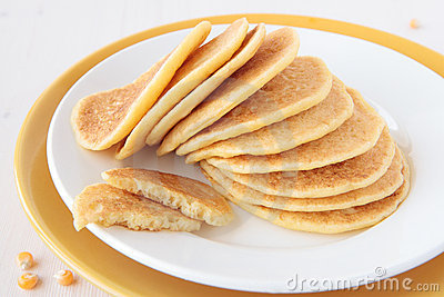 A stack of pancakes made ​​of maize flour