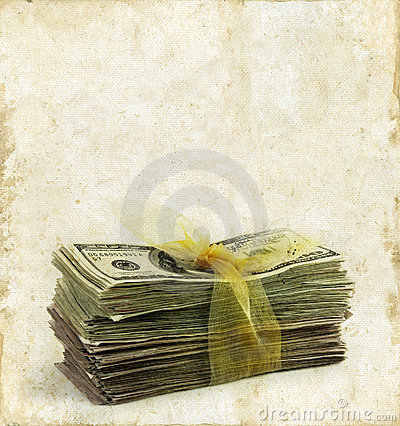 Stack of Paper Money on a Grunge Background