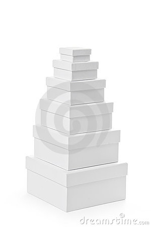 Stack of pasteboard square gift boxes