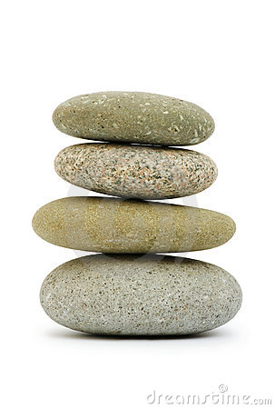 Stack of pebbles isolated