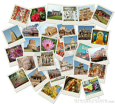 Stack of photo shots with India landmarks