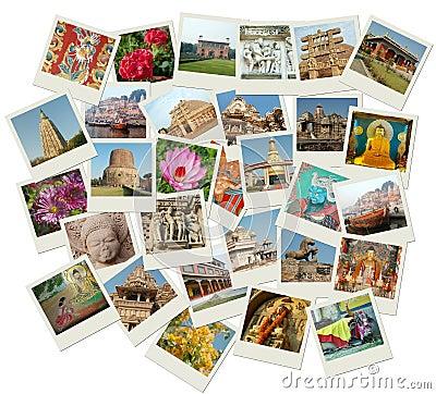Stack of photo shots with India landmarks