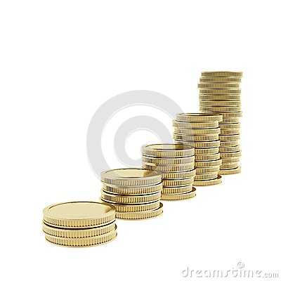 Stack piles of shiny golden coins isolated on white