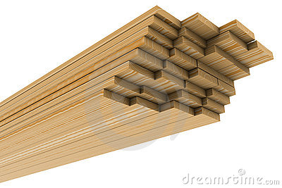 A stack of pine boards